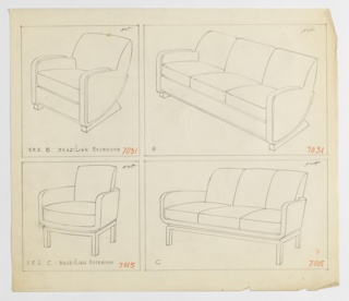 Drawing, Armchair, Two Versions an, 1930–1935