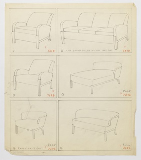 Drawing, Armchair, Three Versions/, 1930–1935