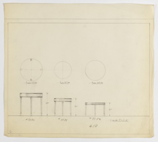Three designs for round occasional tables with tapered legs. From left to right: plan and elevation for 27-inch tall table with 27-inch diameter tabletop; plan and elevation for 21-inch tall table with 21-inch diameter tabletop; plan and elevation for 16-inch tall table with 24-inch diameter tabletop. In each design, tabletop laterally bisected by band of contrasting material and supported by four legs that gently taper into outward-turned feet. Inscribed, from left to right, with Deskey Nos. 8180, 8181, and 8182. Margins ruled in graphite.