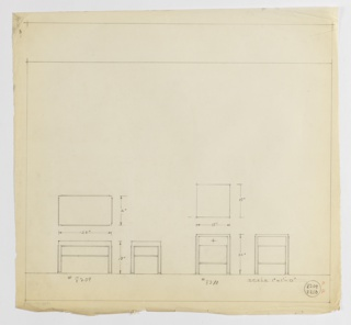 Two designs for occasional tables with shelf. At left: plan and front and side elevations for 18-inch tall table with 16x28-inch tabletop and shelf at two-thirds height; labeled with Deskey No. 8209. At right: plan and front and side elevations for 22-inch tall table with 18x18-inch tabletop and shelf at one-third height; labeled with Deskey No. 8010. In both designs, interior planes accented with molding that extends downward to form object feet. Margins ruled in graphite.