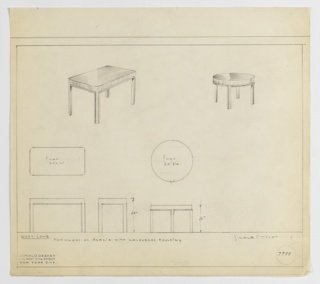 Two designs for end tables—one rectangular, the other round—in mahogany or acacia with lacquered molding seen in perspective, plan, and front and side elevations. At upper left, rectangular end table in perspective shows tabletop with rounded corners that extend downward, seemingly in one piece, into Parsons-like square legs with lacquered molding on interior planes. Below, at left, plan and elevations reveal rectangular table dimensions. At upper right, circular table (two inches shorter than rectangular counterpart) seen in perspective, also with four square legs and interior molding elements. Below, plan and elevation show dimensions. Margins ruled in graphite. Inscribed with Deskey No. 7799.