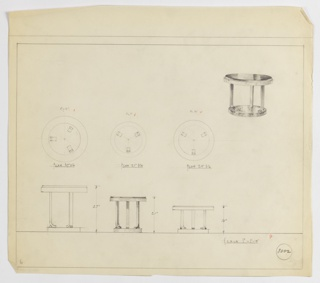 "The variations on design for round occasional table seen in plan and elevation with one perspective drawing at upper right. Perspective shows circular tabletop set into mount supported by three inward-curving metallic legs with small cylindrical braces on outer edge; these are positioned on a slightly smaller circular base. Below, at lower left, plan and elevation for 27-inch tall table with 27-inch diameter top. At center, plan and elevation for 21-inch tall table with 21-inch diameter top. At right, plan and elevation for 16-inch tall table with 24-inch diameter top. Each plan has been approved with ""ok"" in graphite and check marks in red pencil. Margins ruled in graphite. Inscribed with Deskey No. 8002."