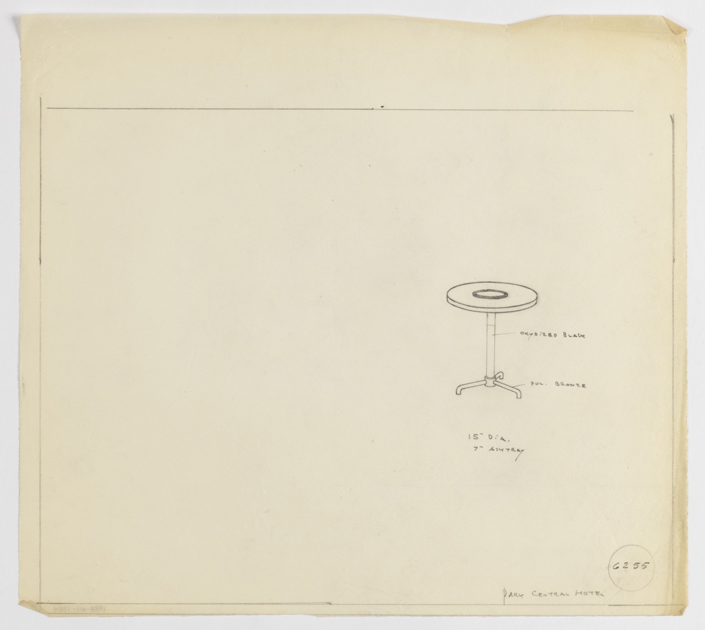 Design for round occasional table in oxydized [sic] black and polished bronze with ashtray for the Park Central Hotel seen in perspective. At right, perspective shows 15-inch diameter tabletop with 7-inch ashtray at center atop column in black oxidized bronze with three-footed base in polished bronze. Margins ruled in graphite. Inscribed with Deskey No. 6235.