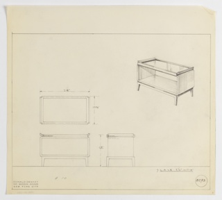 Design for rectangular occasional table on stand with shelf and, probably, mirror or glass tray-like top seen in plan, front and side elevations, and perspective. At upper right, perspective shows open-backed rectangular volume with curved edges resting on a stand with four tapered, modular legs. Tabletop is likely glass or mirror set into rectangular frame with curved runners along sides; it is possible that tabletop was removable and could function independently as tray. At center left, plan indicates object footprint while below, at left and center, elevations indicate additional dimensions. Margins ruled in graphite. Inscribed with Deskey No. 8293.