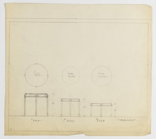 Three designs for round occasional tables with modern cabriole legs seen in plan and elevation. From left to right: 27-inch tall table with 27-inch diameter tabletop; 21-inch tall table with 21-inch diameter tabletop; 16-inch tall table with 242-inch diameter tabletop. In each design, tabletop is separate component that rests in base consisting of mount and cabriole-style legs with gentle curve at top and subtle taper and outward curve at foot. Inscribed, from left to right, with Deskey Nos. 8165, 8166, and 8167. Margins ruled in graphite.