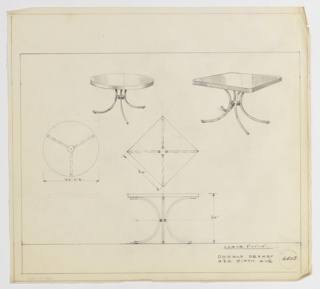 """Two version of a design for guéridon-style table with C-shaped legs. At upper left, round table shown in perspective with top supported by three C-shaped legs with circular """"stretcher"""" at center; plan for this object at center left. At upper right, square-topped table seen in perspective supported by four C-shaped legs joined at center; same square table seen at center in plan and lower center in elevation. Margins ruled in graphite. Inscribed with Deskey No. 6403."""