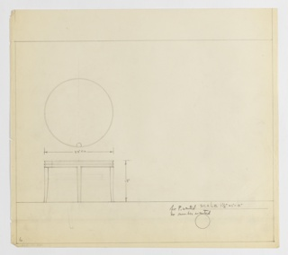 Design for low, round occasional table seen in plan and elevation. At center left, plan provides object diameter and indicates relationship of leg to tabletop while below, elevation describes tapered and outward-curving klismos legs and stacked-ring composition of tabletop. Note in margins indicates that neither perspective drawing nor Deskey No. were desired. Margins ruled in graphite.