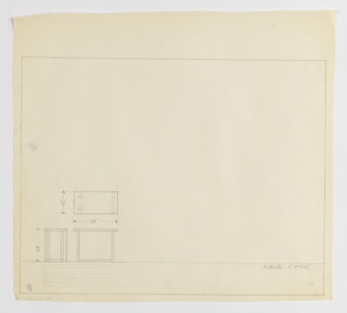 Design for low, asymmetrical, rectangular occasional table seen in plan and front and side elevations. At lower left, plan indicates object footprint and relationship between base and top. Below, at far left, side elevation provides additional specs and indicates curvature of legs at left as well as setting in rectangular support base that, at right, bends at 90-degree angle to support right side of tabletop. To the left, front elevation further describes curvature of legs and suggests they are tubular metal (probably steel) that meet a bracket-like support plane. Margins ruled in graphite.