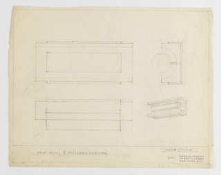 Design for horizontal wall light fixture seen in front and side elevation, perspective, and possibly in plan from below. At lower right, perspectival drawing shows polished chrome cylinder sit within cast class rectangular prism with hollow, hemispherical void running its width and resting atop a slightly smaller rectangular metal foot. Above, at upper right, side elevation indicates that chrome cylinder is affixed to cast glass tube via a bar running its width, and that while cylinder is inset into tube, half of its diameter extends beyond the tube's edge. The entire volume is nestled into rectilinear bracket that presumably affixes to wall. At upper left is a front elevation indicating a rectangular silhouette from this view; below is what appears to be a plan from either above or below that describes the depth of the various fixture components. Materials indicated in graphite, margins ruled in the same. Inscribed with Deskey No. 400.