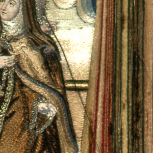 """Small picture, framed, and under glass. Shows figure of woman, kneeling before an altar, while an angel bends over her, pointing an arrow at her breast. Above, dove descending on rays of light. whole in architectural frame with canopy above. Embroidered in colored silks and some metal thread; appears to be laid work on a paper foundation. Faces and hands of engraved paper. Below: """"S. Teresa da Jesus."""""""