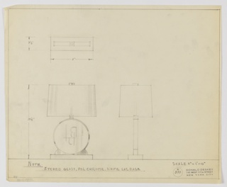 Design for table lamp in etched glass, polished chrome and white lacquer seen in front elevation, side elevation, and plan. At lower left front elevation indicates circular glass disc etched with abstract characters consisting of straight horizontal and vertical elements from which curl curved segments. Disc mounted on rectangular white lacquer base with to arched supports on either side and terminates at top with trapezoidal shade and circular disc finial. Side elevation at lower center right and plan at top left. Margins ruled in graphite and inscription indicating materials at lower left reads: NOTE: / ETCHED GLASS, POL. CHROME, WHITE LAC. BASE. Inscribed with Deskey No. 384.