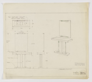 Design for rectangular console table with mirror seen in plan, front and side elevations, and perspective. At right, perspective shows tabletop supported by central rectilinear post with smaller supports on either side extending up from smaller rectangular base; mirror is rectangular with clear glass and polished chrome mounts at center of top and bottom edges. At upper left, plan indicates object footprint with note indicating tabletop comprised of one-sided etched glass with opal glass below with a light underneath. Below, at center left and center, mirror elevation provides dimensions and material specs. At lower left and center, table elevations provide further dimensions detail central support and base are wood with vertical polished chrome accents while side supports are clear glass. Margins ruled in graphite. Inscribed with Deskey No. 8600 (table) and 8600A (mirror).