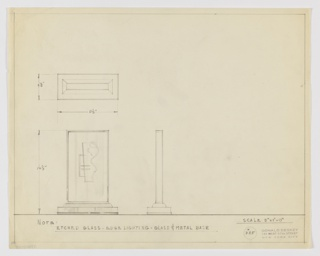 Design for light fixture in etched glass with glass and metal base seen in elevation, profile, and plan. At lower left, elevation reveals rectangular slab of glass with possibly beveled edges. At center of slab is etched, abstract composition with curved, nude female form at right and angular, slanted line at right intersected by additional angular lines. Base in metal and glass is rectangular plinth on which rests beveled platform that supports glass slab. At lower center, profile indicates rectilinear silhouette. At upper left a plan with dimensions reveals various depths of volumes from above. Note in graphite across bottom margin indicates materials, with object dimensions and ruled border also in graphite. Inscribed with Deskey No. 385.