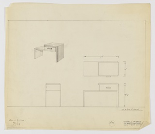 """Design for asymmetrical end table with drawer seen in perspective, plan, side and front elevations. At upper left, perspective shows asymmetrical, rectangular table with, at left, L-shaped plane that is both support and tabletop which, at right, is topped by drawer with rectangular handle. Drawer is covered by second L-shaped plane that, again, serves as both tabletop and support. At center right, plan indicates object footprint while below, at left and right, elevations provide additional specs. Inscribed with Deskey No. 7102. Margins ruled in graphite. Inscribed at lower left with """"BL. – S. – W."""" and dated 9/1/33."""
