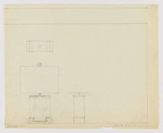 Design for table lamp seen in elevation, profile, and plan. At lower left, elevation shows rectangular volume with lower corners inverted to accommodate a scroll-shaped base. Upper and lower edges of volume feature trim in contrasting material or hue. Rectilinear lamp shade rests over slender, bulb-holding rod and is affixed with dichromatic sphere. Object profile see at lower center and plan at upper left. Margins ruled in graphite; missing left margin.