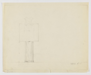 Design for table lamp in elevation with base detail in plan. At upper left, plan indicates foot and base of inverted quatrefoil shape. Below, at lower left, elevation indicate rectangular silhouette with curved indentations indicated in graphite shading, which also seems to indicate marble as the base material and metal for the foot. Lampshade either round or square atop cylindrical lightbulb support. Margins ruled in graphite.