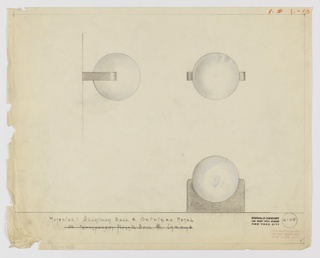 Design for drawer pull in aluminum and oxidized metal seen in profile, elevation, and plan. At let, profile indicates aluminum sphere (blue) set into oxidized metal mount (black) with curved prongs. At upper right, elevation describes symmetrical composition of the two volumes. Below, plan indicates relative depth of fixture. Margins ruled in graphite. Inscribed with Deskey No. 6105.