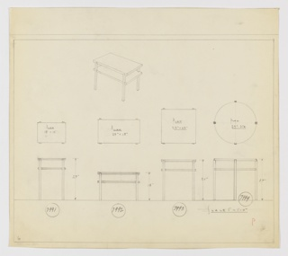 Four designs for end tables, each with one shelf, seen in plan and elevation with one rectangular table shown in perspective. At lower left, plan and elevation for 27-inch tall table with 18x13-inch top shows shelf at about three-quarters object height. At center-left, an 18-inch tall table with 27x15-inch tabletop and shelf at approximately two-thirds object height. At center-right is a 26-inch tall table with 22x22-inch tabletop. At right, a 27-inch tall table with 27-inch diameter top and shelf at approximately three-quarters object height. Above, at center-left, is a perspective drawing of the rectangular table. Inscribed with Deskey Nos. (from left to right) 7991, 7992, 7993, 7994. Margins ruled in graphite.