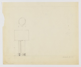 Design for table lamp seen in elevation with a detail in plan. At lower left, elevation shows cylindrical volume atop base composed of teardrop shapes interlocked with flat horizontal elements. Above, detail in plan indicates that cylindrical volume is assemblage of curved plates interposed over one another. Shade shape indeterminate. Margins ruled in graphite.