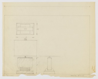 Design for table lamp seen in elevation, profile, and plan. At lower left, elevation indicates wide U-shaped volume shaded in graphite resembling marble mounted set perpendicularly into a similarly shaped, inverted metal stand which rests on a rectangular base with metallic trim around its foot. U-shaped volume topped by metal plane from the center of which rises a slender cylindrical bulb holder obscured by rectangular shade with inverted U-shaped finial. At lower center a side elevation reveals depth of marble volume while at top left, a plan indicates the intersection of the various volumes and their depths. Margins ruled in graphite and object dimensions indicated in the same.
