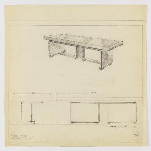 Design for conference table for Stow-Davis Furniture Company seen in side and front elevations and perspective. Above, perspective shows long rectangular table supported by inverted bracket whose side panels terminate in inward curves and rest on four cylindrical feet. Central support is flat rectangular plane against which interior L-shaped brackets angle outward, also resting on cylindrical feet. Below, elevations provide dimensions and describe relative depths of object components. Margins ruled in graphite. Inscribed with Deskey No. 7796.