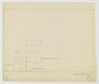 Design for desk lamp in polished chrome, cork, and brushed or polished metal seen in side elevation and plan. At center left, a rectangular shape indicates object plan from above. Below, a side elevation reveals rectangular lamp head of cork with brushed or polished metal trim indicated. Lamp head supported by L-shaped weighted base whose depth is nearly half of that of the lamp head. At lower left, a detail (possible front elevation) indicates that lamp head is semi-cylindrical volume at top and rectilinear volume at bottom. Margins ruled in graphite with object dimensions and materials indicated in the same. Inscribed with Deskey No. 406.
