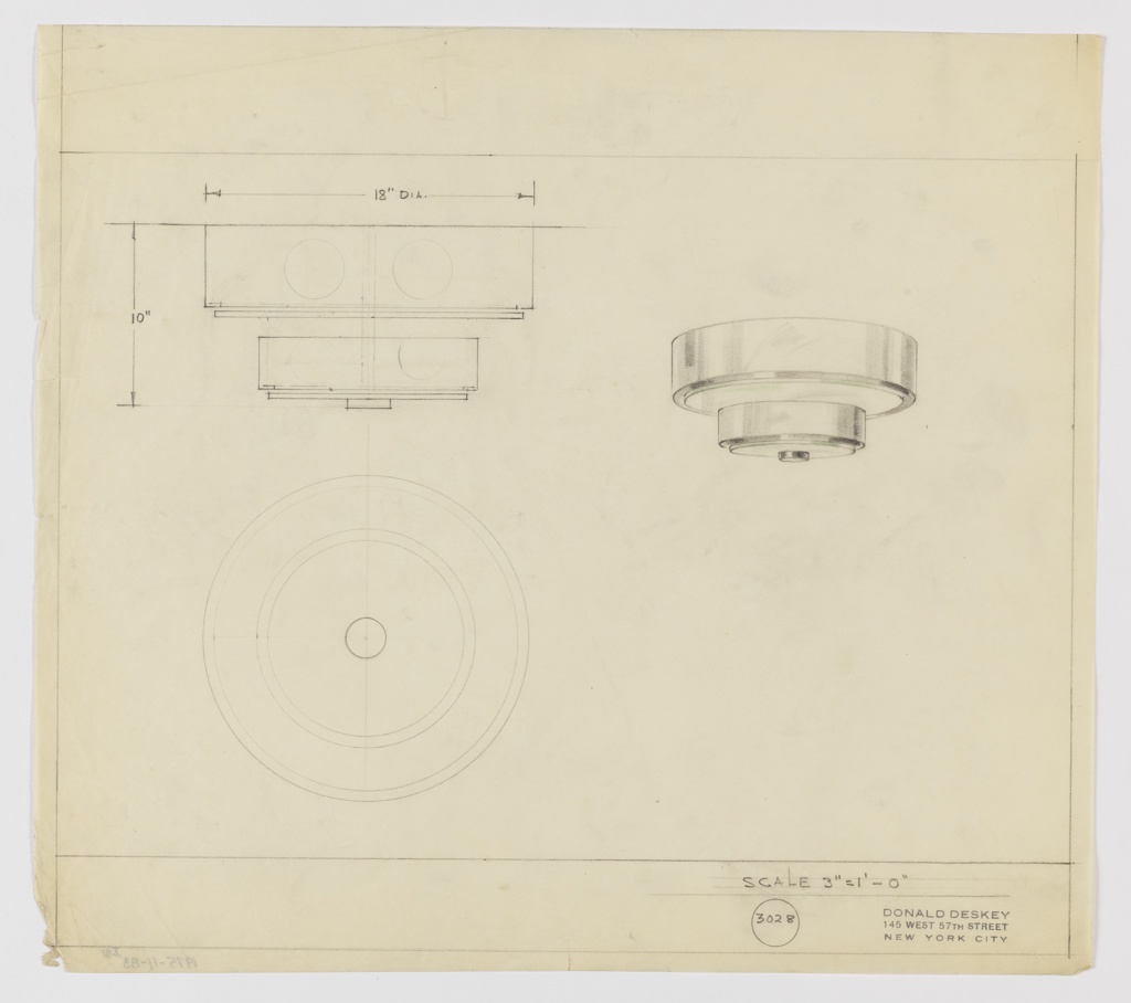Design for ceiling light seen in elevation, plan and perspective. At right in perspective: two-tiered light light fixture consiting of two concentric metal rings each with circular glass (in green pencil) set into bottom plane; secured by circular metal disk at bottom.  At left is slightly exploded view of object in elevation with measurements. At lower left is plan from below consisting of concentric circles. Border around margins in graphite. Inscribed with Deskey No. 3028.