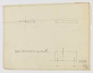 Design for drawer pull in side and front elevations and in plan. At upper left, profile view indicates ball mounted on fixture which is affixed to door or drawer by screw. At right, front elevation shows asymmetrical situation of ball on mount, while below, at right, plan reveals that ball is set into mount, which is a rectangular volume with rounded corner at left and right-angled corner at right. Margins ruled in graphite. Inscribed with Deskey No. 6105.