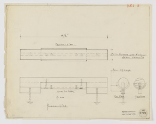 Full-size design detail for drawer pull in polished chrome and black Bakelite for Valentine-Seaver Company seen in elevation, plan, side and section views. At center left, front elevation indicates six screws employed to connect hardware components and mount to drawer. Below, at left, plan view indicates distribution of screws, with two used to  secure hardware to drawer and remaining four to connect cylindrical black Bakelite pull to polished chrome mount. At lower right, side and section views explain relative depths of screws and hardware components. Inscribed in orange color pencil in upper right margin: V.&S. B. Margins ruled in graphite. Inscribed with Deskey No. 6106.