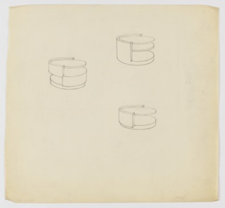 Three designs for low, round occasional tables with shelving, seen in perspective. At upper right, drawing for circular table on round base with semicircular support column supporting tabletop and two-thirds height shelf. At center left, drawing for circular table with round base and alternating openings and semicircular supports creating two shelves; round tabletop with slight lip at top. Below right, drawing for circular table on thick round base with semicircular support column.
