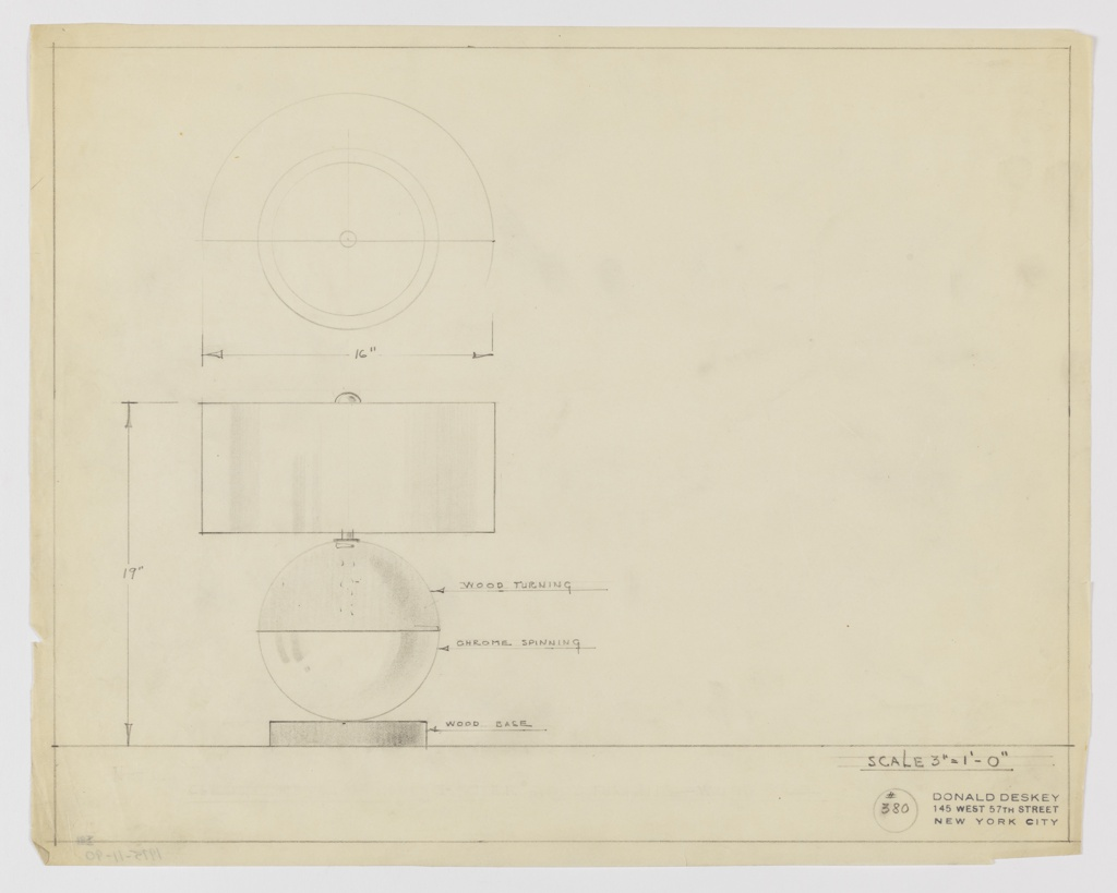 """Design for table lamp in wood and chrome seen in elevation and plan. At lower left, elevation shows spherical volume with upper hemisphere in """"WOOD TURNING"""" and lower in """"CHROME SPINNING"""" atop a circular wood base. Sphere rests on base and terminates in slender rod, squat cylindrical shade, and spherical finial. Plan consists of concentric rings indicating lamp base, volume, shade and finial. Object materials and dimensions are inscribed in graphite, as are ruled margins. Inscribed with Deskey No. 380."""
