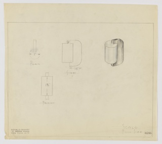 Design for drawer pull seen in plan, side and front elevations, and perspective. At right, perspective shows blue cylindrical finger grip set into black vertical rectangular plane with curved lateral edges. At far let, plan indicates that cylinder is mounted in one-third of the vertical plane's depth, while at center, side elevation indicates pull proportions and overall depth. Below, front elevation indicates rectilinear silhouette. Margins ruled in graphite with object views and dimensions in the same. Inscribed with Deskey No. 6235.