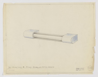 Design for drawer pull in polished aluminum and milky glass or white Catalin seen in perspective. Cylindrical pull mounted between two squat semi-ellipsoidal volumes. Margins ruled in graphite. Inscribed with Deskey No. 6103.