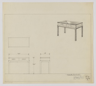 Design for server with two drawers seen in plan, front and side elevations, and perspective. At upper right, perspective shows rectangular case piece with two drawers accessed by rectangular pulls resting atop Parsons table frame (square-plan legs). At center left is plan without dimensions; below, at left and center, elevations describe object dimensions. Margins ruled in graphite. Inscribed with Deskey No. 9010 A.