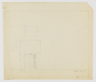 Design for table lamp in plan and elevation. At lower left, elevation shows rectangular volume whose surface is ornamented with vertical and horizontal striations, alternating by quadrant. From this volume rises a thick cylinder to support lightbulb, obscured by either round or rectangular shade without visible finial. Above, plan reveals swollen rectangular volume with perimeter bulging at center. Margins ruled in graphite.
