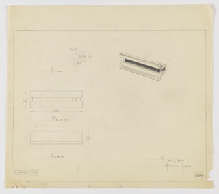 Design for drawer pull seen in side and front elevations, plan, and perspective. At right, perspective shows horizontally-oriented rectangular prism on whose top and bottom planes are affixed downward- or upward-curving finger grips. At upper left, side elevation reveals lateral symmetry while below, front elevation and plan indicate overall rectangular shape. Margins ruled in graphite with object views and dimensions in the same. Inscribed with Deskey No. 6224.