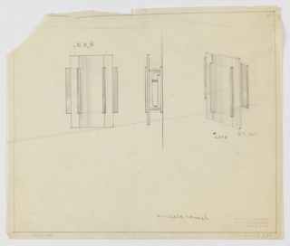 Design for illuminated mirror in front and side elevation and perspective done in graphite and blue color pencil. At left, perspective shows layered composition of vertically oriented rectangles comprising mirror glass, posterior mounts, and anterior accents. At center, side elevation reveals that object's posterior mount would be affixed to a wall, and between that mount and the mirror glass would hang a tubular lightbulb. At left, front elevation indicates various object components. Margins ruled in graphite with dimensions and notes made in the same. Inscribed with Deskey No. 6116.
