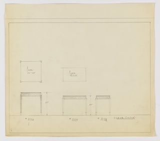 Three designs for rectilinear occasional tables with modern cabriole legs seen in plan and elevation. From left to right: plan and elevation for 27-inch tall table with 24x24-inch tabletop; plan and elevation for 23-inch tall table with 27x16-inch tabletop; elevation for 23-inch tall table without accompanying plan. In each design, tabletop appears set into base supported by modern cabriole legs that gently swell at top and terminate in tapered, outward-turned feet. Inscribed, from left to right, with Deskey Nos. 8170, 8171, and 8172. Margins ruled in graphite.