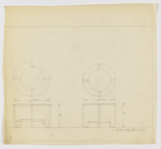 Two designs for round occasional table with inward-curled legs. At left, plan and elevation for 18-inch tall table with 27-inch diameter tabletop supported by four legs with legs terminating in U-shaped feet that support shelf below. Above, legs create alternatingly open/closed frame around tabletop. At right, similar design for same height table with 24-inch diameter top, here supported by paired legs with similar inward-curving U-shaped feet. These do not join around the tabletop perimeter. Margins ruled in graphite.