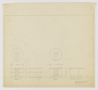 Two designs for low, round occasional tables. At left, plan and two elevations for 17-inch tall table with 24-inch diameter tabletop. Elevations show round base on which vertically-oriented, bi-partite box stands and supports round tabletop and shelf and provides additional storage. Support extends across approximately two-thirds object width. Assigned Deskey No. 8220. At left, plan and two elevations for 16-inch tall table with 24-in diameter tabletop. Elevations indicate that surface is supported by vertically-oriented, bi-partite box that provides additional storage and extends across approximately two-thirds object width. Assigned Deskey No. 8221. Margins ruled in graphite.
