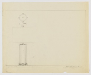 Design for table lamp. At left object is rendered in elevation below a depiction of the base in plan from below. Base consists of circular ring held by four feet, rectilinear but with inward-curving exterior planes. From the base rises a cylindrical shaft topped by a circular disc from which a slender rod extends to hold the bulb and shade; an inverted hemispherical finial tops the object. Margins ruled in graphite.