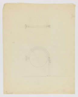 Design for lamp attachment: above, probable elevation drawing indicates hemispherical shade mounted within frame and bulb protruding from lower edge; below, drawing depicts support arm mounted to either horizontal or vertical surface, curving leftward around the hemispherical shade. Arm adjustable at joint with rectangular knob; at its terminus a second rectangular knob appears to connect to and control the movement and position of the shade.