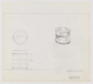 Design for round end table with marble top and revolving shelf seen in plan, elevation, and perspective. At upper right, perspective shows circular marble tabletop resting in circular base atop semicircular support column. Foot is circular and slightly smaller than overall object circumference; this supports lower shelf above which rotating shelf is pictured in closed position. At right, plan indicates object footprint while at lower left, elevation provides additional details regarding object components and additional specs. Margins ruled in graphite. Originally inscribed with Deskey No. 8535 [?], now erased.