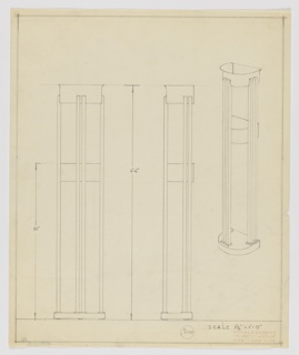 Design for a standing light fixture. At right, perspective reveals a hemispherical base whose flat edge would abut a wall. From this base extend six rectilinear vertical elements: one pair at front center and one pair on each (left and right) sides, all springing from rectangular mounts on the base. These terminate midway up a top soffit whose shape echoes that of the base, but this volume is thicker with a lip that slightly widens at top. At approximately two-thirds of the object's height is another soffit or shelf where perhaps the fixture's lighting element might be situated. Object dimensions given in graphite with margins ruled in the same. Inscribed with Deskey No. 6108.