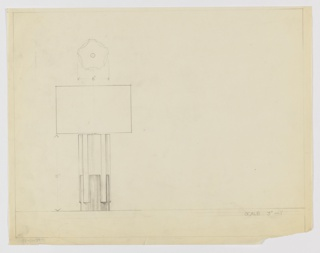Design for table lamp in elevation and plan. At left, elevation of cylindrical lamp in two materials—probably wood and metal—with pilaster-like vertical elements at equal intervals around the object's perimeter commencing just above object's bottom and terminating in plane with the cylindrical base. It is not possible to determine lamp shade's shape. At upper left, plan reveals cog-like layout of cylindrical lamp base and the five pilasters that punctuate its surface. Margins ruled in graphite.