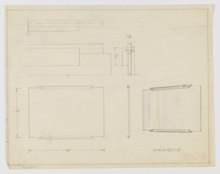 Design for rectangular mirror seen in front and side elevations and perspective with design details above. At lower left, front elevation shows rectangular plane with horizontal, rectangular mounts at center of top and bottom edges. At lower center, profile view describes layered composition of mounts, while at right, a perspective in graphite and blue color pencil indicates curved edges and relative depth of mounts. Above, a series of details in graphite describe the dimensions and composition of object mounts. Margins ruled in graphite with dimensions and scale indicated in the same.