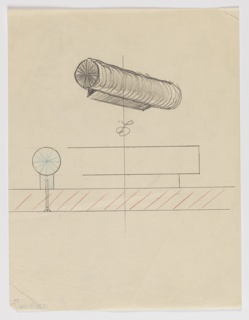 """Design for drawer pull shown in perspective with side and plan details. Above, perspective in graphite shows horizontal cylinder mounted on rectangular support. Below, at left, side profile view indicates how object (with blue pencil starburst at center) would be screw-mounted to drawer or cabinet (indicated by red pencil striations) while below, at center, a plan sketch indicates object's relative depth. Inscribed at center with cursive """"LC,"""" possible draftsman's or client's initials."""