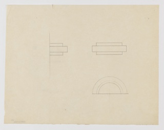 Design for drawer pull seen in profile, elevation, and plan. At left, profile shows stepped shape; at upper right, elevation indicates relative width of combined volumes. At lower right, plan indicates concentric semi-circular pull mounted along straight edge.