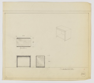 """Design for end table seen in plan, front and side elevations, and perspective. At right, perspective shows rectangular end table with closed sides and one low shelf. Outer surface of table seems to rest as a secondary layer over its structural frame. At lower left, front elevation reveals shelf is in line with """"secondary layer"""" creating a cohesive, closed circuit. This view also reveals a fascia underneath the tabletop running parallel to the ground. At lower center, side profile shows rectilinear, layered profile, while above, plan describes object's relative depth. Margins ruled in graphite with views and dimensions in the same. Inscribed with Deskey No. 8003."""