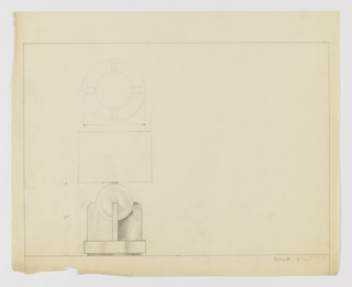 Design for table lamp seen in elevation and plan. At lower left, a squat circular base stands slightly elevated from surface and supports a Greek cross, angular at bottom and curved at top. These are shaded with graphite and appear to be of metal, while set into their arms is a globe seemingly of glass. From the globe rises an arm to hold a lightbulb, obscured by a shade with no visible finial. Above, a plan indicates the depths of lamp base volumes. Object dimensions inscribed in graphite and margins ruled in the same.